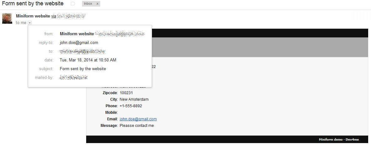 Example of a received message in Gmail